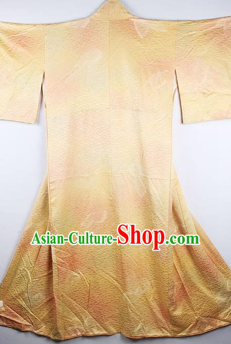 Japanese Traditional Yellow Furisode Kimono Asian Japan National Yukata Dress Costume for Women