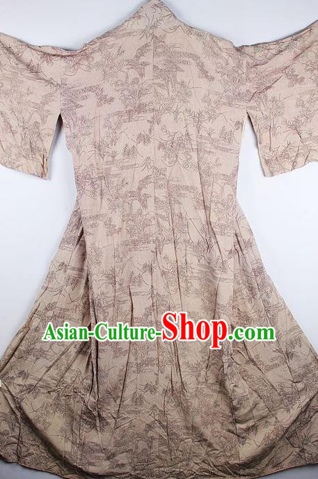 Traditional Japanese Khaki Furisode Kimono Asian Japan National Yukata Dress Costume for Women