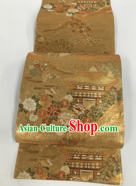 Japanese Traditional Kimono Classical Chrysanthemum Pattern Golden Brocade Belt Asian Japan National Yukata Waistband for Women