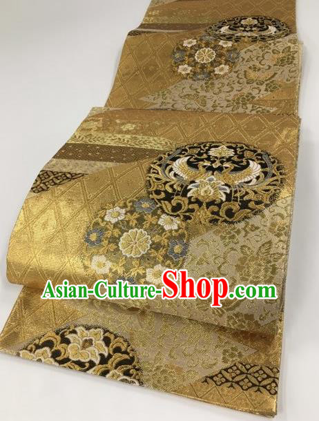 Japanese Kimono Classical Crane Pattern Golden Brocade Belt Asian Japan Traditional National Yukata Waistband for Women