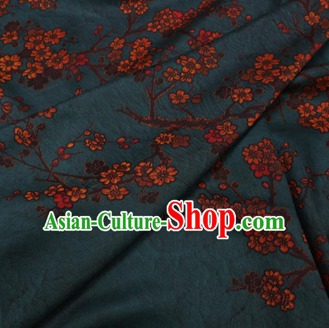 Traditional Chinese Classical Plum Blossom Pattern Design Atrovirens Gambiered Guangdong Gauze Asian Brocade Silk Fabric