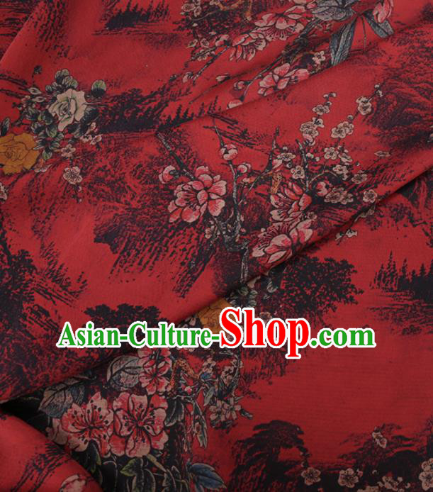 Traditional Chinese Classical Plum Blossom Pattern Design Red Gambiered Guangdong Gauze Asian Brocade Silk Fabric