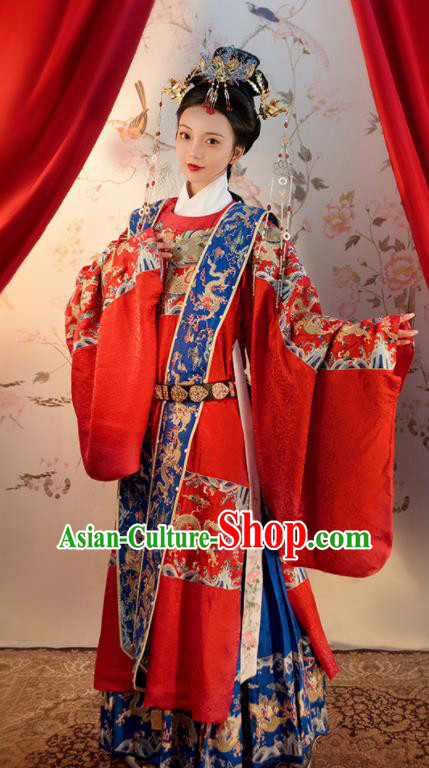 Chinese Ancient Ming Dynasty Red Hanfu Dress Traditional Wedding Queen Embroidered Replica Costume for Women