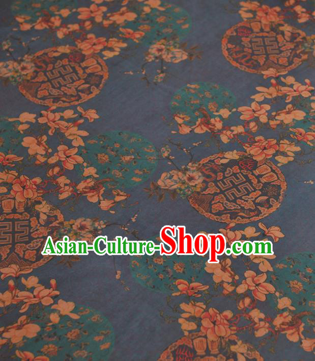 Chinese Traditional Dragon Phoenix Pattern Design Navy Gambiered Guangdong Gauze Asian Brocade Silk Fabric