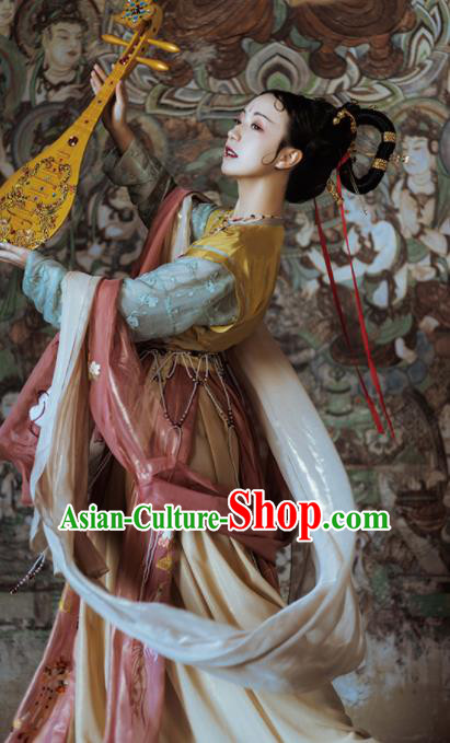 Chinese Ancient Tang Dynasty Court Princess Hanfu Dress Traditional Mythology Goddess Dance Embroidered Replica Costume for Women