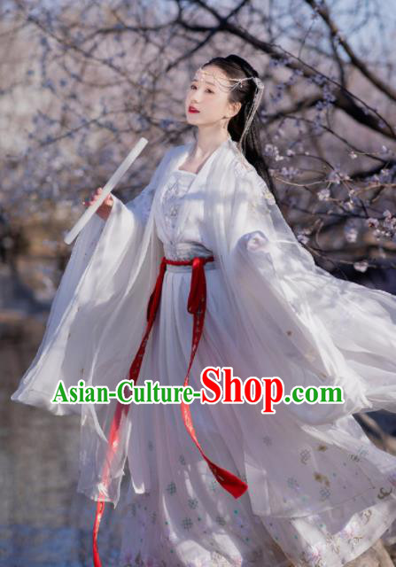 Chinese Ancient Tang Dynasty Princess White Hanfu Dress Traditional Court Lady Embroidered Replica Costume for Women