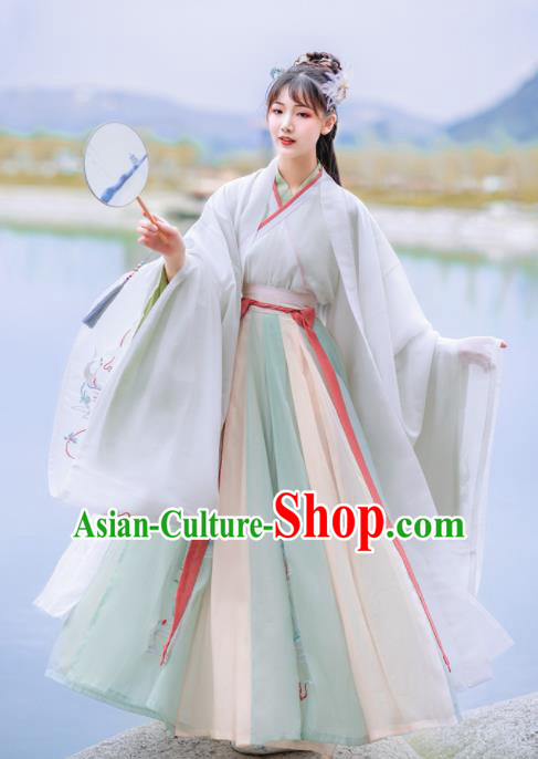 Chinese Traditional Court Princess Hanfu Dress Ancient Jin Dynasty Palace Lady Embroidered Historical Costume for Women