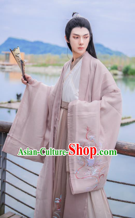 Chinese Traditional Hanfu Clothing Ancient Jin Dynasty Swordsman Embroidered Historical Costume for Men