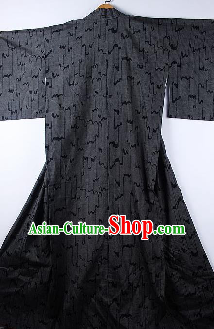 Asian Japanese Ceremony Classical Wave Pattern Black Kimono Traditional Japan National Yukata Costume for Men