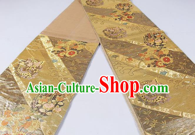 Asian Japanese Classical Flower Butterfly Pattern Golden Brocade Waistband Kimono Accessories Traditional Yukata Belt for Women