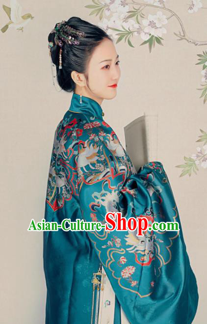 Chinese Ancient Ming Dynasty Palace Queen Blue Hanfu Dress Traditional Empress Dowager Embroidered Replica Costume for Women
