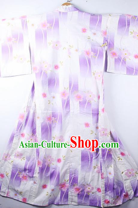 Asian Japanese Printing Purple Furisode Kimono Ceremony Costume Traditional Japan Yukata Dress for Women