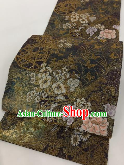 Japanese Traditional Classical Peony Pattern Brown Waistband Kimono Brocade Accessories Asian Japan Yukata Belt for Women