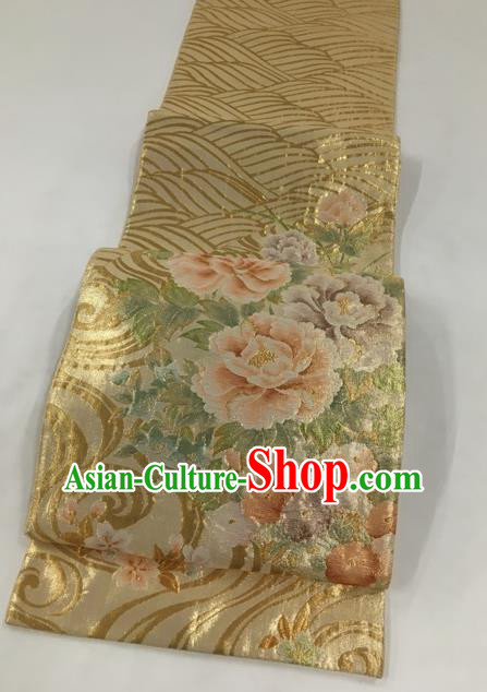 Japanese Traditional Classical Peony Pattern Golden Waistband Kimono Brocade Accessories Asian Japan Yukata Belt for Women