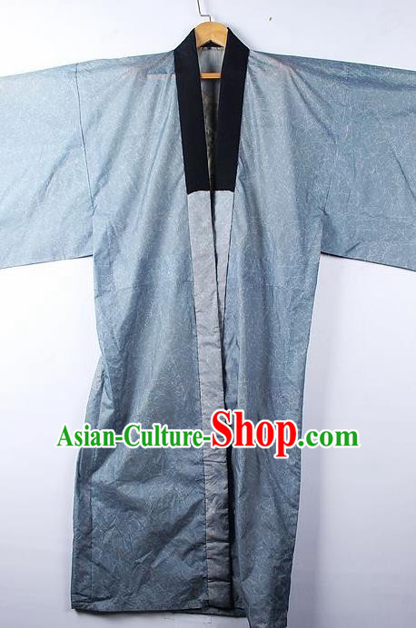 Asian Japanese Samurai Classical Pattern Blue Yukata Robe Traditional Japan Kimono Costume for Men