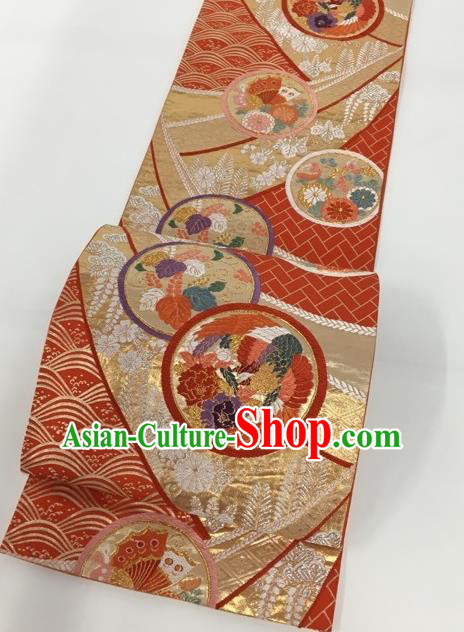 Japanese Traditional Classical Peony Pattern Red Waistband Kimono Brocade Accessories Asian Japan Yukata Belt for Women