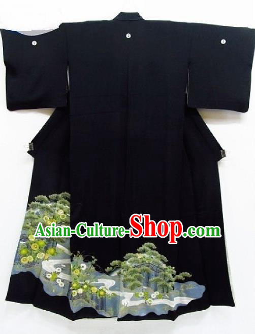 Asian Japanese Samurai Classical Pine Cornflower Pattern Black Yukata Robe Traditional Japan Kimono Costume for Men