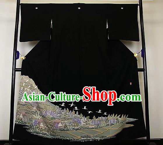 Asian Japanese Samurai Classical Pine Crane Pattern Black Yukata Robe Traditional Japan Kimono Costume for Men