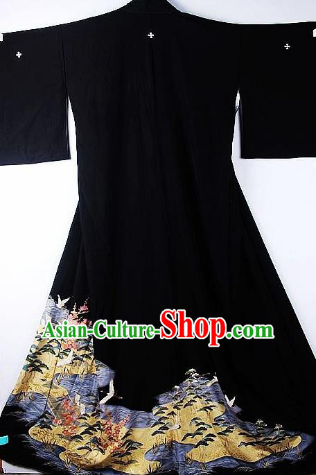 Asian Japanese Samurai Classical Flow Pattern Black Yukata Robe Traditional Japan Kimono Costume for Men