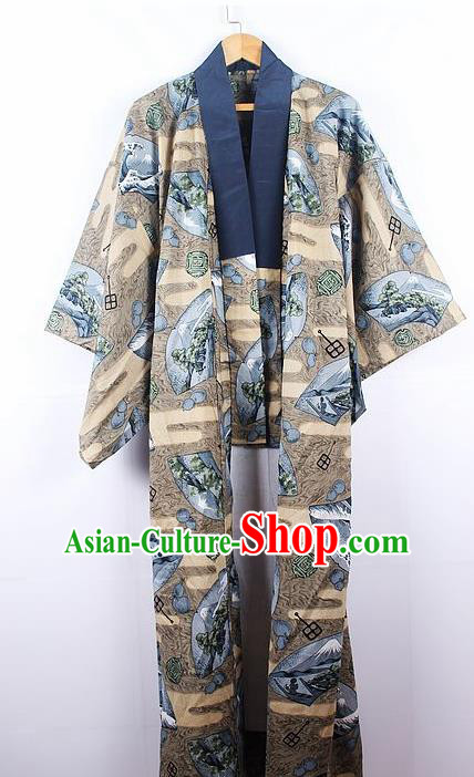Asian Japanese Samurai Classical Pattern Khaki Yukata Robe Traditional Japan Kimono Costume for Men