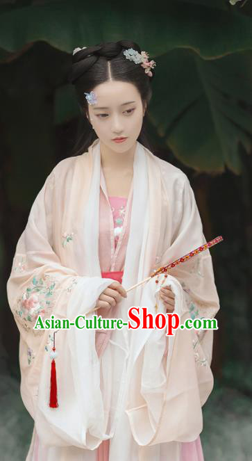 Chinese Traditional Tang Dynasty Court Princess Pink Hanfu Dress Ancient Legend Flower Goddess Replica Costume for Women
