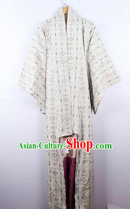 Asian Japanese Yamato Classical Pattern Beige Yukata Robe Traditional Japan Samurai Kimono Costume for Men