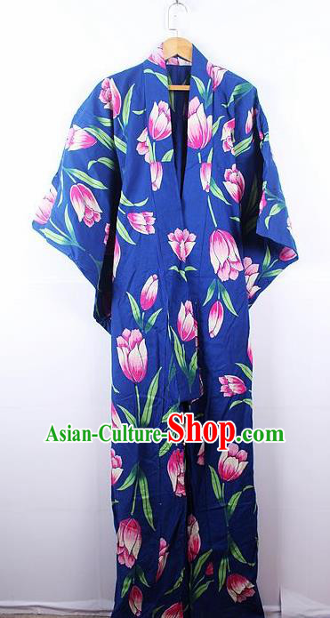 Asian Japanese Ceremony Printing Tulip Blue Kimono Dress Traditional Japan Yukata Costume for Women