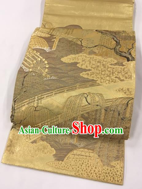 Japanese Traditional Classical Willow Pattern Golden Kimono Brocade Accessories Asian Japan Yukata Belt for Women