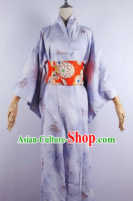 Asian Japanese Ceremony Printing Sakura Light Purple Kimono Dress Traditional Japan Yukata Costume for Women