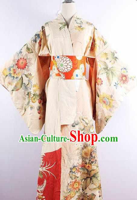 Japanese Ceremony Costume Printing Flowers Silk Kimono Dress Traditional Asian Japan Yukata for Women