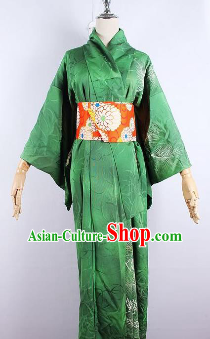 Asian Japanese Ceremony Printing Pine Green Kimono Dress Traditional Japan Yukata Costume for Women