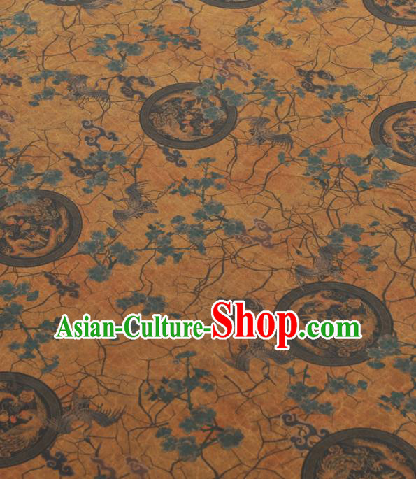 Chinese Traditional Dragon Phoenix Crane Pattern Design Yellow Gambiered Guangdong Gauze Asian Brocade Silk Fabric