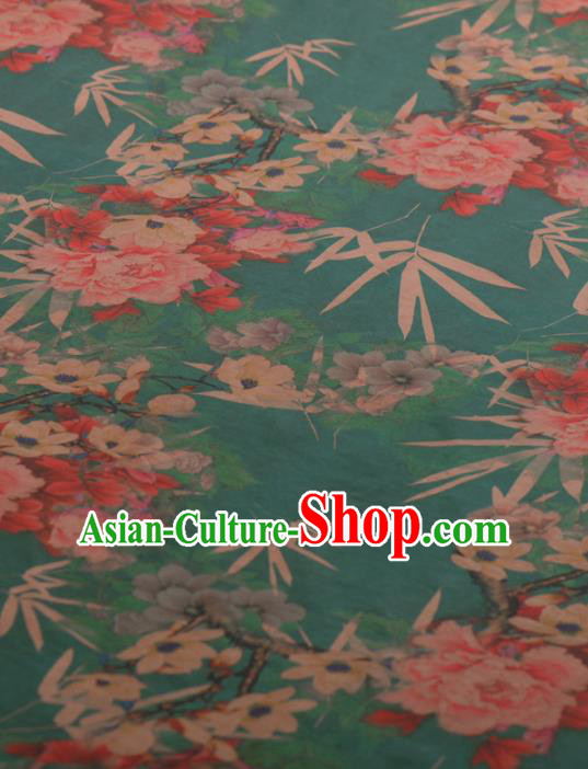 Chinese Classical Bamboo Peony Pattern Design Green Gambiered Guangdong Gauze Traditional Asian Brocade Silk Fabric