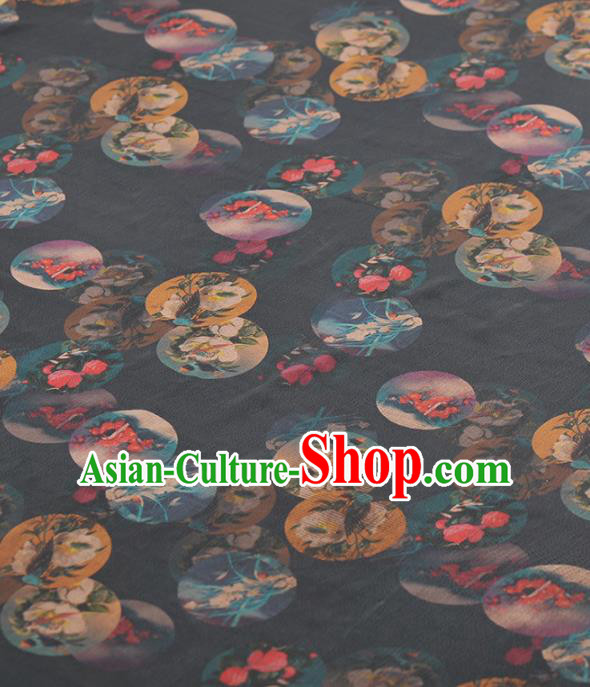 Asian Chinese Classical Orchid Peony Pattern Navy Gambiered Guangdong Gauze Traditional Cheongsam Brocade Silk Fabric