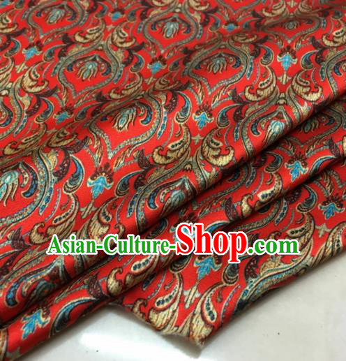 Asian Chinese Classical Pattern Red Brocade Satin Drapery Traditional Cheongsam Brocade Silk Fabric