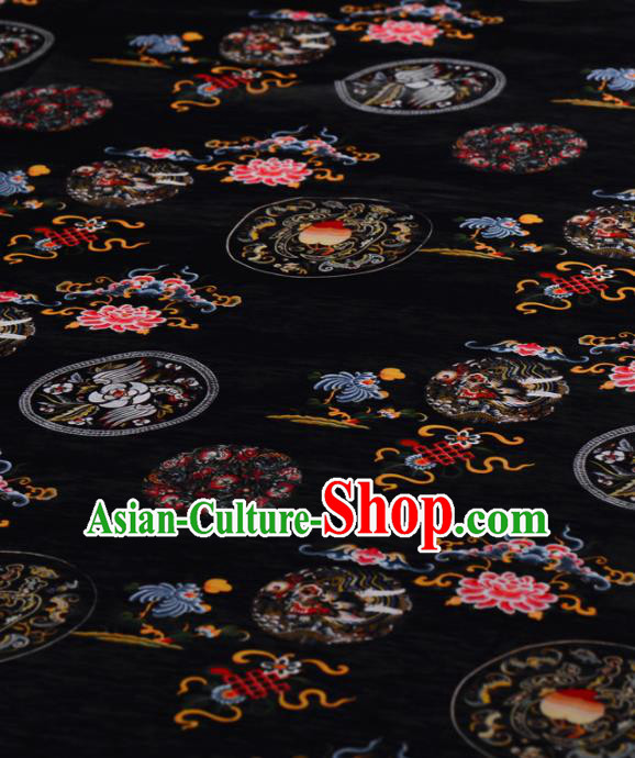 Asian Chinese Classical Dragon Phoenix Peony Pattern Black Gambiered Guangdong Gauze Traditional Cheongsam Brocade Silk Fabric