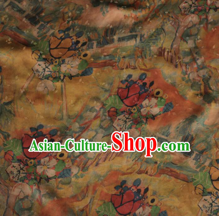 Asian Chinese Classical Pattern Yellow Gambiered Guangdong Gauze Satin Drapery Brocade Traditional Cheongsam Brocade Silk Fabric