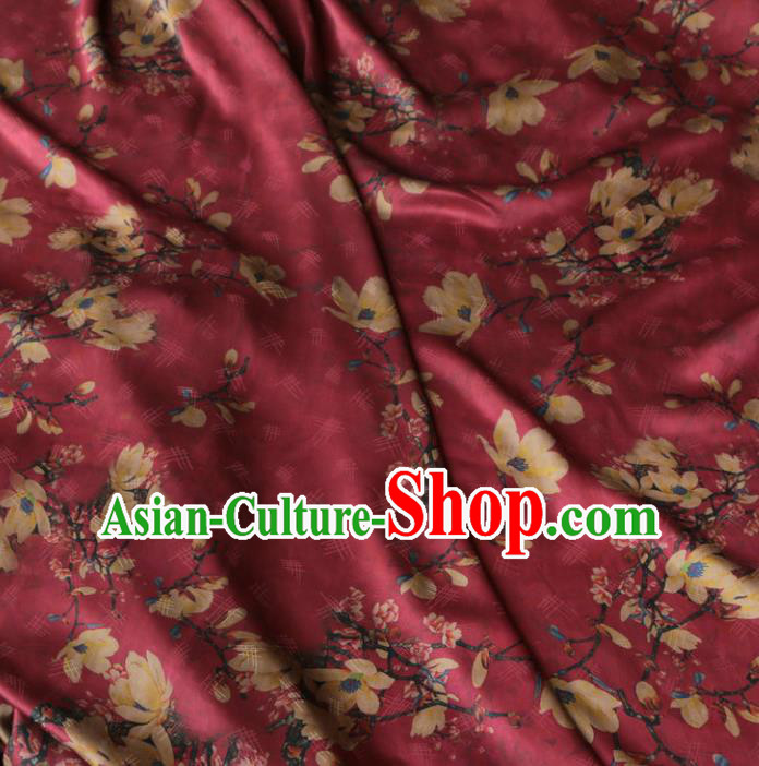 Asian Chinese Classical Yulan Magnolia Pattern Wine Red Gambiered Guangdong Gauze Satin Drapery Brocade Traditional Cheongsam Brocade Silk Fabric