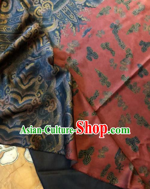 Asian Chinese Classical Dragons Pattern Satin Drapery Gambiered Guangdong Gauze Brocade Traditional Cheongsam Brocade Silk Fabric