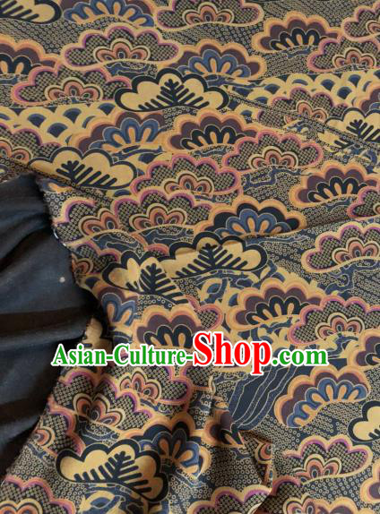Asian Chinese Classical Waves Pattern Satin Drapery Gambiered Guangdong Gauze Brocade Traditional Cheongsam Brocade Silk Fabric