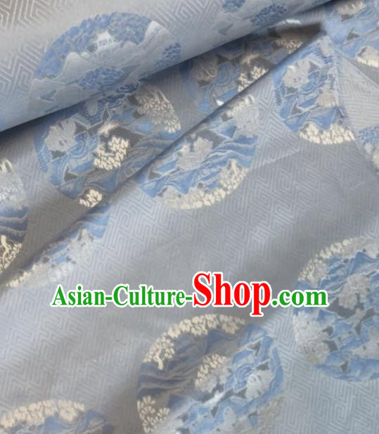 Asian Chinese Classical Pattern Blue Satin Drapery Gambiered Guangdong Gauze Brocade Traditional Cheongsam Brocade Silk Fabric