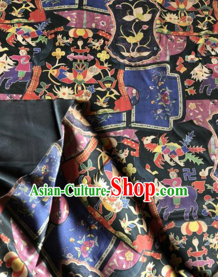 Asian Chinese Classical Flowers Pattern Satin Drapery Gambiered Guangdong Gauze Brocade Traditional Cheongsam Brocade Silk Fabric