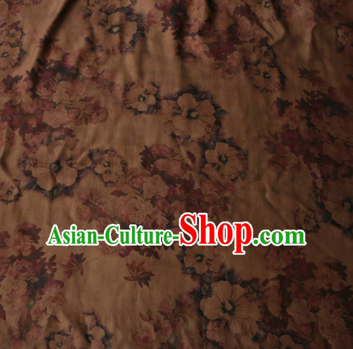 Asian Chinese Classical Roses Pattern Khaki Gambiered Guangdong Gauze Satin Drapery Brocade Traditional Cheongsam Brocade Silk Fabric