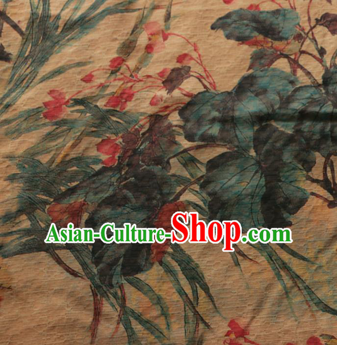 Asian Chinese Classical Orchid Pattern Gambiered Guangdong Gauze Satin Drapery Brocade Traditional Cheongsam Brocade Silk Fabric