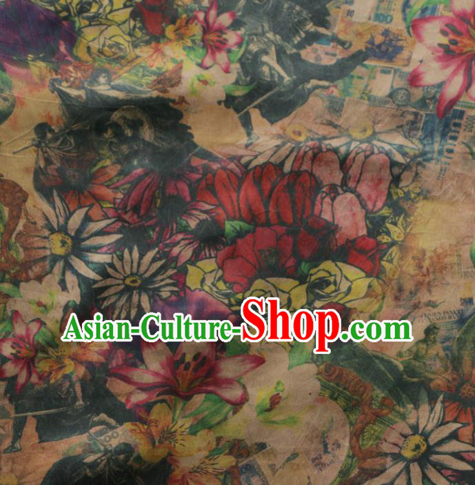 Asian Chinese Classical Daisy Pattern Gambiered Guangdong Gauze Satin Drapery Brocade Traditional Cheongsam Brocade Silk Fabric