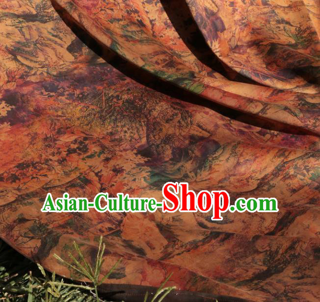 Asian Chinese Classical Landscape Pattern Gambiered Guangdong Gauze Satin Drapery Brocade Traditional Cheongsam Brocade Silk Fabric