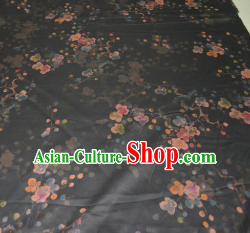 Chinese Traditional Cheongsam Classical Plum Pattern Black Gambiered Guangdong Gauze Asian Satin Drapery Brocade Silk Fabric