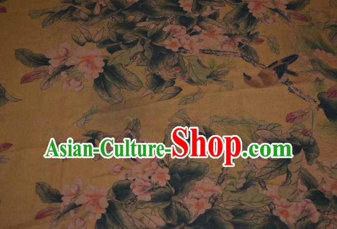 Chinese Traditional Cheongsam Classical Flowers Pattern Yellow Gambiered Guangdong Gauze Asian Satin Drapery Brocade Silk Fabric