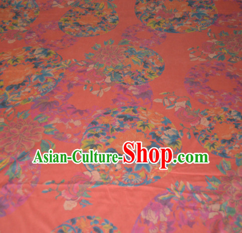 Chinese Traditional Cheongsam Classical Peony Pattern Orange Gambiered Guangdong Gauze Asian Satin Drapery Brocade Silk Fabric