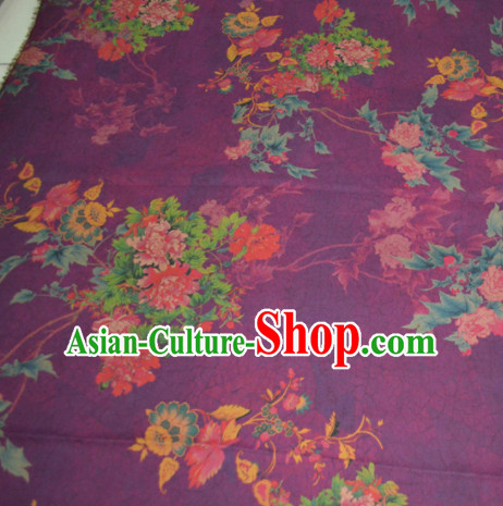 Chinese Traditional Cheongsam Classical Peony Pattern Purple Gambiered Guangdong Gauze Asian Satin Drapery Brocade Silk Fabric
